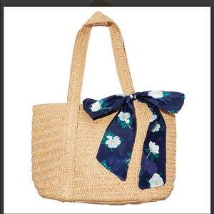 Draper James New Floral Scarf Straw Beach Bag